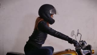 Motorbike Motorcycle Happy Girl Woman Biker Driving Bike With Helmet