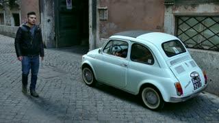Old Fiat 500 Cinquecento Car Parked Rome Roma Italy Italia
