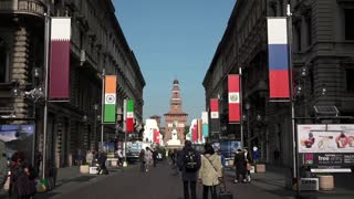 Old Monument Building Castello Sforzesco Castle In Milan City Italy