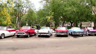Old Vintage Cars Parked In The Streets Of Havana Cuba