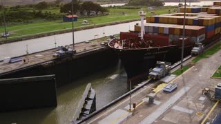 Panama city, boat, cargo ship, containers, canal