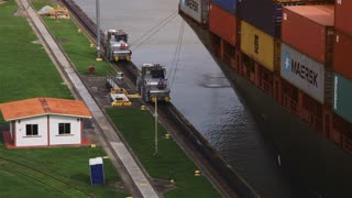 Panama city, boat, cargo ship, vessel, transport, containers, canal