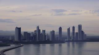 Panama City Buildings Traffic Cars Skyline At Dawn 4K