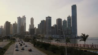 Panama City time-lapse of cars, traffic, road, buildings