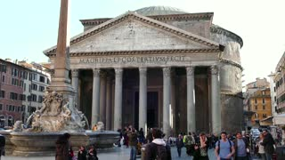 Pantheon Square Monument Tourists People In Rome Roma Italy Italia