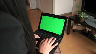Pc Computer Pc Green Screen Monitor Black Business Woman Typing
