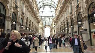 People Tourists Shopping Galleria Vittorio Emanuele Shops Stores Milano Italy