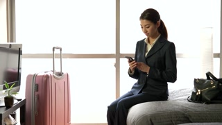 People Woman Businesswoman Talking On Phone Hotel Room Business Travel