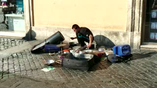 People Young Man Playing Drums Music Musical Instrument Rome Italy