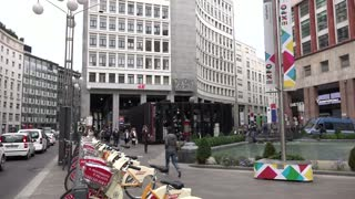 Piazza San Babila Square Buildings Architecture City People Milan Italy