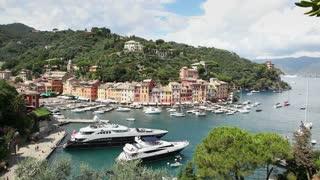 Portofino Sea Village With Harbor And Boats In Italian Riviera