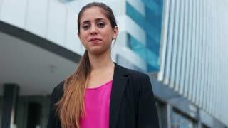 Portrait Confident Business Woman Looking Copy Space