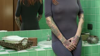 Portrait Girl Woman Showing Tattoo Skin Arms Looking At Camera