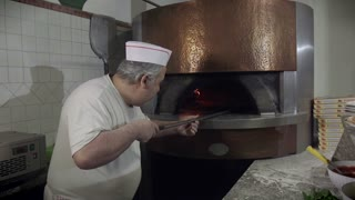 Portrait Man At Work Cook Pizza Restaurant Kitchen Food Italy