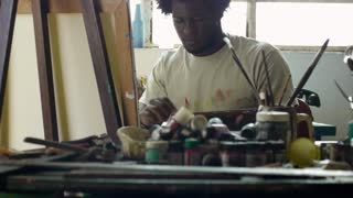 Professional Painter Working In Studio Black Man Painting Artistic Work