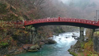 Shinkyo bridge in Nikko, Japan, Asia. Japanese monuments, Asian landmarks, travel attractions, old historical buildings. River, mountains, landscape