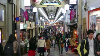 Shinkyogoku Shopping Street in Kyoto, Japan, Asia. Japanese people, tourists, crowd shopping in shops and stores