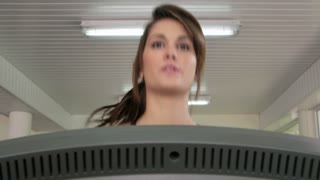 Sports and young people working out in gym, beautiful female athlete exercising and running in fitness club. Sequence