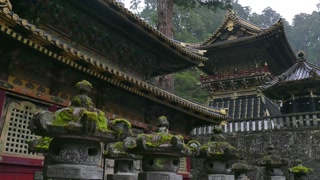 Toshogu shrine, temple, pagoda, religious building in Nikko, Japan, Asia. Japanese monument, Asian landmark, travel attraction, old historical buildings in park