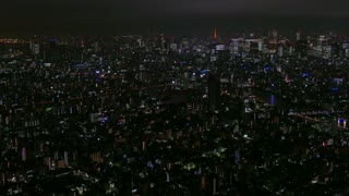 Tokyo, Japan, Asia. Aerial panoramic view of the city at night from Skytree tower. Modern downtown buildings, landmarks, neon lights, travel. Asian and Japanese urban landscape, metropolitan area