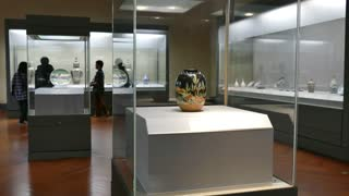 Tokyo National Museum, Japan, Asia. People, tourists, visitors during visit, looking at art objects in collection. Exhibition, gallery, show, artwork on display