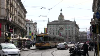 Traffic Street People In Piazza Cordusio Square Milan Italy Italia