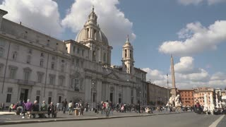 Urban view of Rome, Italy, Italian capital city with old buildings, monuments and art: Piazza Navona