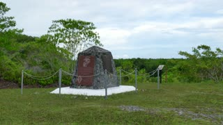 US Marine Corps memorial for Marines fallen at the Battle of Peleliu, fought in Palau between the United States and the Empire of Japan in World War II in 1944. Military graveyard, cemetery, monument