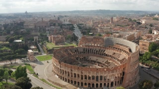 13 Aerial View Colosseo Colosseum Coliseum Landmark And Tourist Attraction In Rome Italy