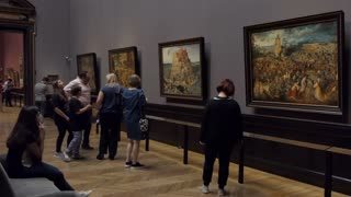 23 Paintings by Pieter Bruegel And People At Kunsthistorisches Museum In Vienna