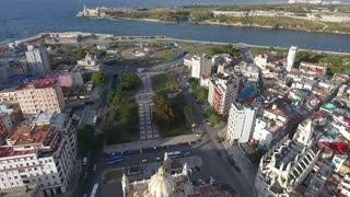 Aerial View Caribbean Sea Old Havana Cuba With Drone Flying
