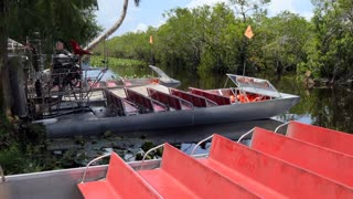 Airboats for tourists at Everglades National Park, Florida, USA