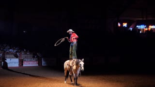 American cowboy performing lasso show on horse at rodeo in Cowtown Coliseum, arena in the stockyards of Forth Worth, Texas, United States of America