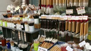 Art shop selling traditional calligraphy brushes in Insadong or Insa-dong district, Seoul, South Korea, Asia