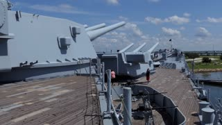 Battleship Memorial Park, a military history park and museum in Mobile, Alabama, USA. View of the South Dakota-class battleship USS Alabama, a ship of the United States Navy in World War II
