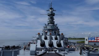 Battleship Memorial Park, a military history park and museum in Mobile, Alabama, USA. View of the South Dakota-class warship USS Alabama, a ship of the United States Navy in WWII
