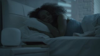 Beautiful Black Girl Sleeping In Bed At Night