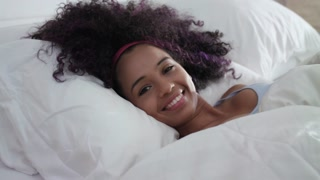 Beautiful Happy Hispanic Teen Waking Up And Smiling Slow Motion