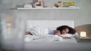 Black Teenager Waking Up In Bed Slow Motion