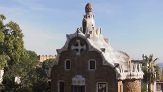 Building By Gaudi In Parc Guell Barcelona Spain