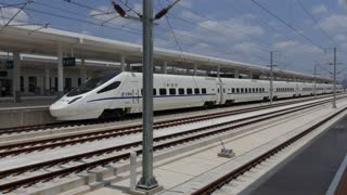 Bullet train in Tianshui brand new railway station, China, Asia. Modern Chinese transportation, fast travel