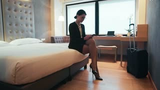 Business Travel Young Woman Businesswoman With Smartphone In Hotel Room