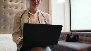Businesswoman Woman Working With Pc Hotel Room Business Travel