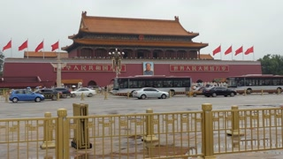 Cars and traffic near the entrance gate of the Forbidden City in Tiananmen Square, Beijing, China, Asia