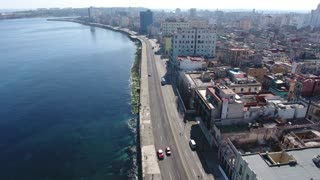Cars Caribbean Sea Cuban Traffic Havana Cuba Aerial View