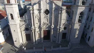 Cathedral In Old Havana Cuba With Drone Flying In Sky