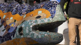 Closeup Of Statue By Gaudi In Parc Guell Barcelona Spain