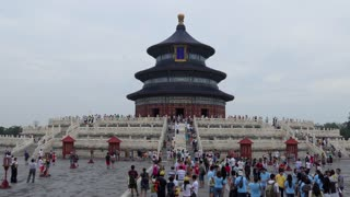 Crowd, people, tourists during visit at the Temple of Heaven in Beijing, China, Asia. Travel, holidays, tourism, Chinese monument, landmark, Asian art
