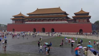 Crowd, people, tourists visiting the Meridian Gate of the Forbidden City in Beijing, China, Asia. Travel, holidays, tourism