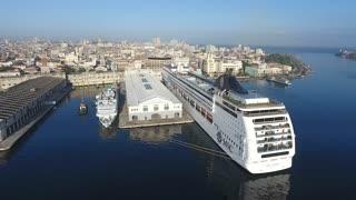 Cruise Ship In Port Sky View Caribbean Sea Havana Cuba